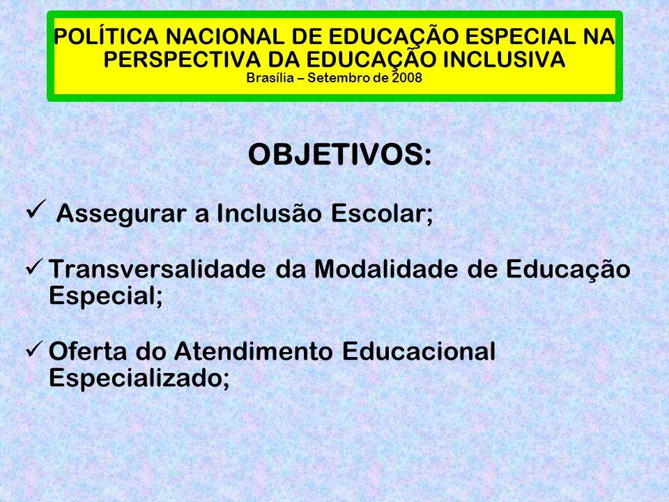 POLÍTICA NACIONAL DE EDUCAÇÃO ESPECIAL NA PERSPECTIVA DA EDUCAÇÃO INCLUSIVA Brasília – Setembro de 2008 OBJETIVOS: Assegurar a Inclusão Escolar; Transversalidade da Modalidade de Educação Especial; Oferta do Atendimento Educacional Especializado;