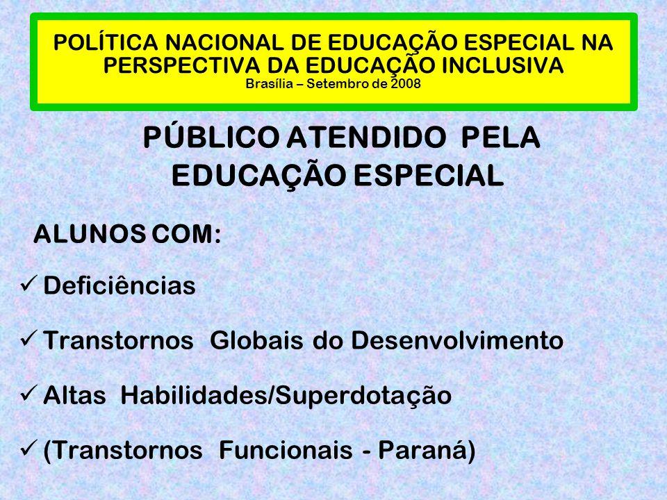 POLÍTICA NACIONAL DE EDUCAÇÃO ESPECIAL NA PERSPECTIVA DA EDUCAÇÃO INCLUSIVA Brasília – Setembro de 2008 PÚBLICO ATENDIDO PELA EDUCAÇÃO ESPECIAL ALUNOS COM: Deficiências Transtornos Globais do Desenvolvimento Altas Habilidades/Superdotação (Transtornos Funcionais - Paraná)