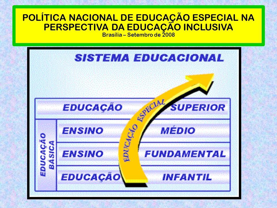 POLÍTICA NACIONAL DE EDUCAÇÃO ESPECIAL NA PERSPECTIVA DA EDUCAÇÃO INCLUSIVA Brasília – Setembro de 2008