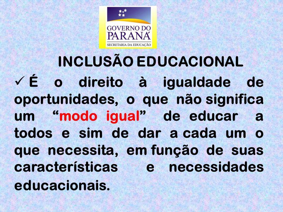 É o direito à igualdade de oportunidades, o que não significa um modo igual de educar a todos e sim de dar a cada um o que necessita, em função de suas características e necessidades educacionais.