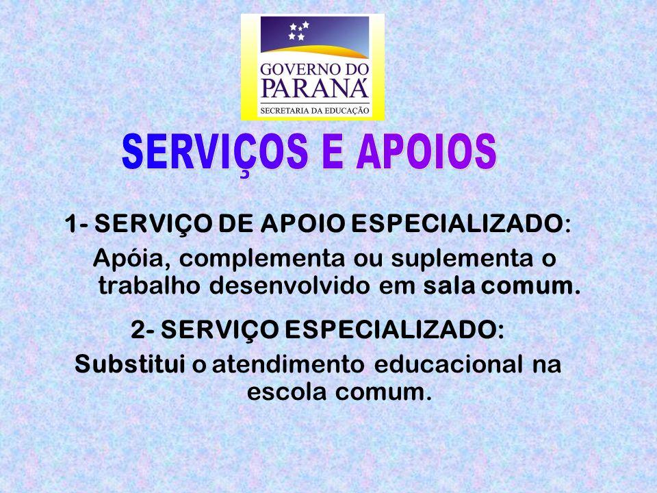 1- SERVIÇO DE APOIO ESPECIALIZADO: Apóia, complementa ou suplementa o trabalho desenvolvido em sala comum.