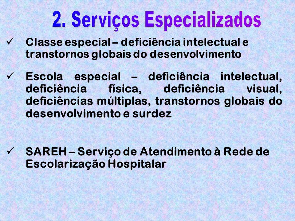 Classe especial – deficiência intelectual e transtornos globais do desenvolvimento Escola especial – deficiência intelectual, deficiência física, deficiência visual, deficiências múltiplas, transtornos globais do desenvolvimento e surdez SAREH – Serviço de Atendimento à Rede de Escolarização Hospitalar