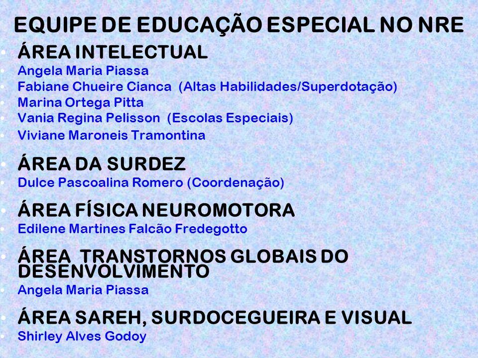 EQUIPE DE EDUCAÇÃO ESPECIAL NO NRE ÁREA INTELECTUAL Angela Maria Piassa Fabiane Chueire Cianca (Altas Habilidades/Superdotação) Marina Ortega Pitta Va