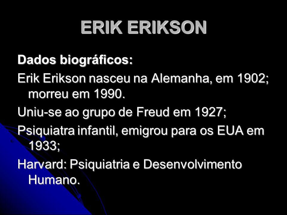 ERIK ERIKSON Dados biográficos: Erik Erikson nasceu na Alemanha, em 1902; morreu em 1990. Uniu-se ao grupo de Freud em 1927; Psiquiatra infantil, emig