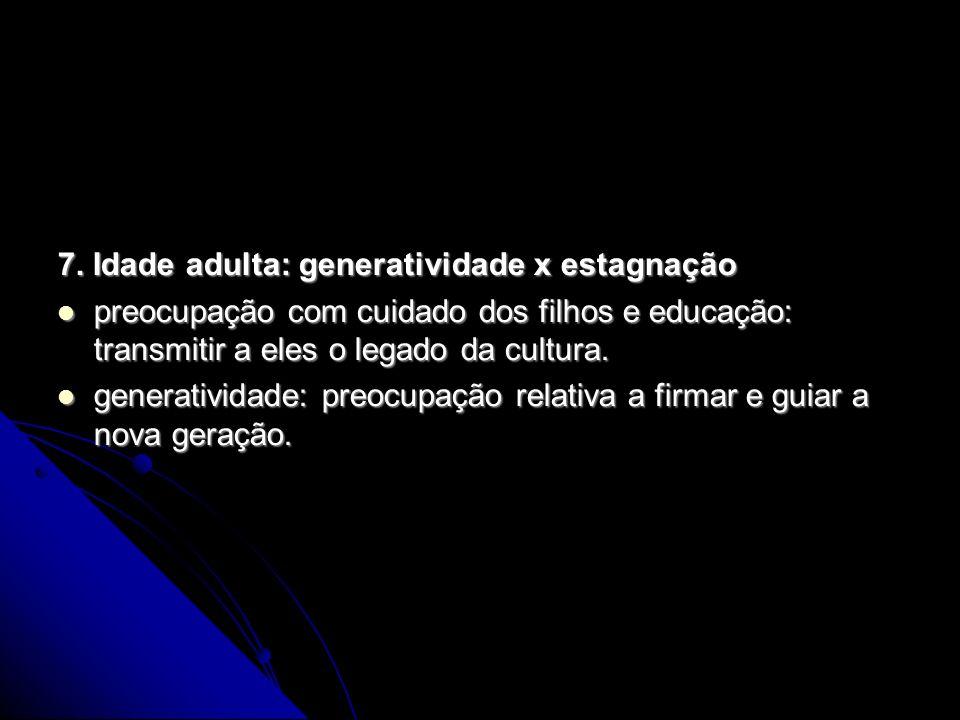 7. Idade adulta: generatividade x estagnação preocupação com cuidado dos filhos e educação: transmitir a eles o legado da cultura. preocupação com cui