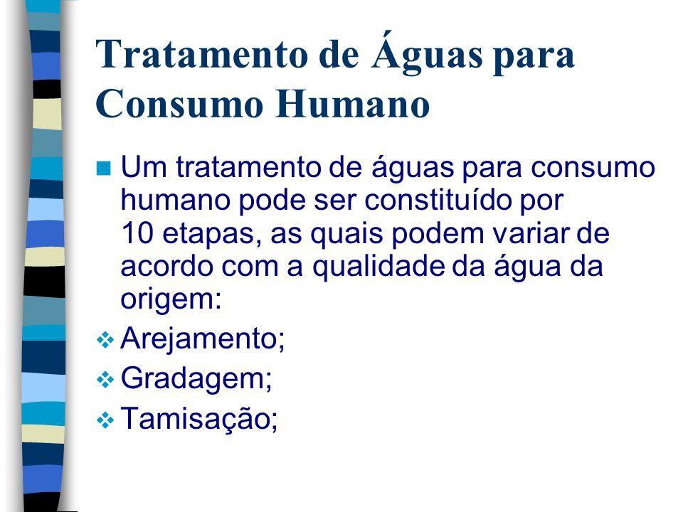 Um tratamento de águas para consumo humano pode ser constituído por 10 etapas, as quais podem variar de acordo com a qualidade da água da origem: Arej
