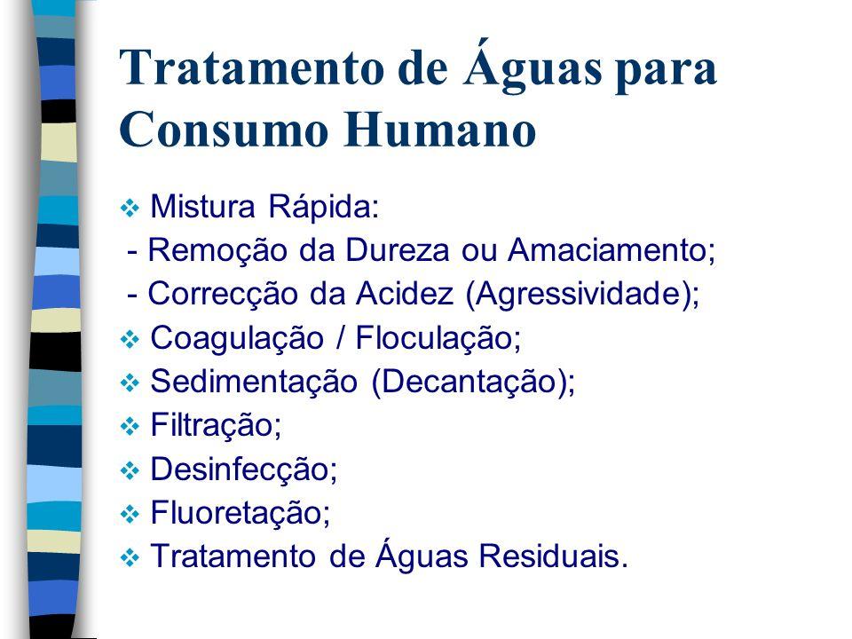 Tratamento de Águas para Consumo Humano Mistura Rápida: - Remoção da Dureza ou Amaciamento; - Correcção da Acidez (Agressividade); Coagulação / Flocul