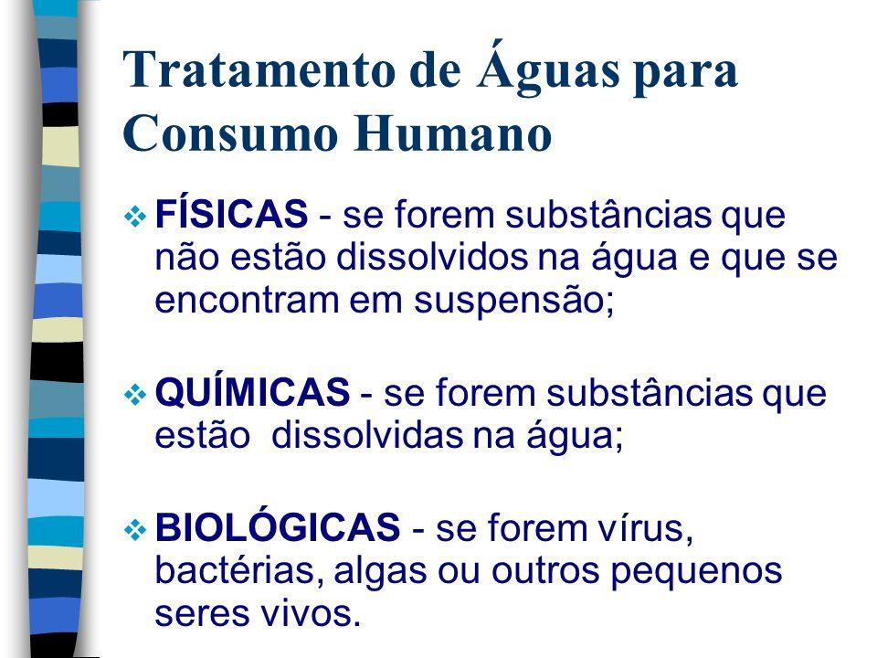 Tratamento de Águas para Consumo Humano FÍSICAS - se forem substâncias que não estão dissolvidos na água e que se encontram em suspensão; QUÍMICAS - s