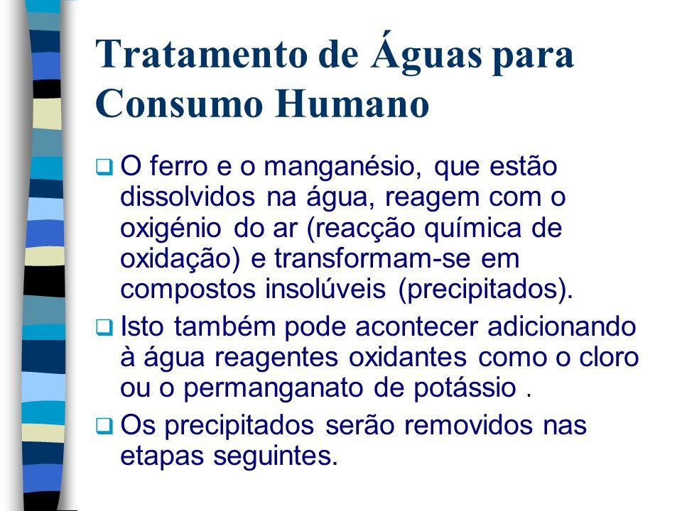 Tratamento de Águas para Consumo Humano O ferro e o manganésio, que estão dissolvidos na água, reagem com o oxigénio do ar (reacção química de oxidaçã
