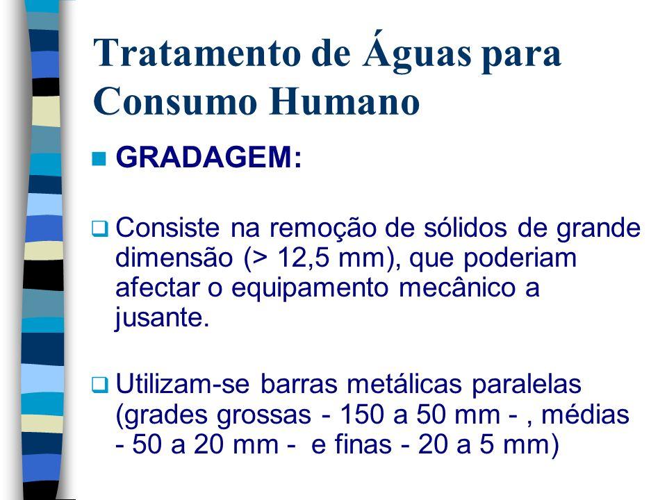 Tratamento de Águas para Consumo Humano GRADAGEM: Consiste na remoção de sólidos de grande dimensão (> 12,5 mm), que poderiam afectar o equipamento me