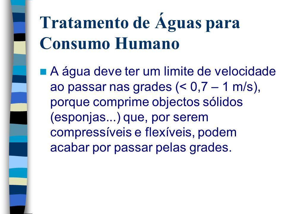 Tratamento de Águas para Consumo Humano A água deve ter um limite de velocidade ao passar nas grades (< 0,7 – 1 m/s), porque comprime objectos sólidos