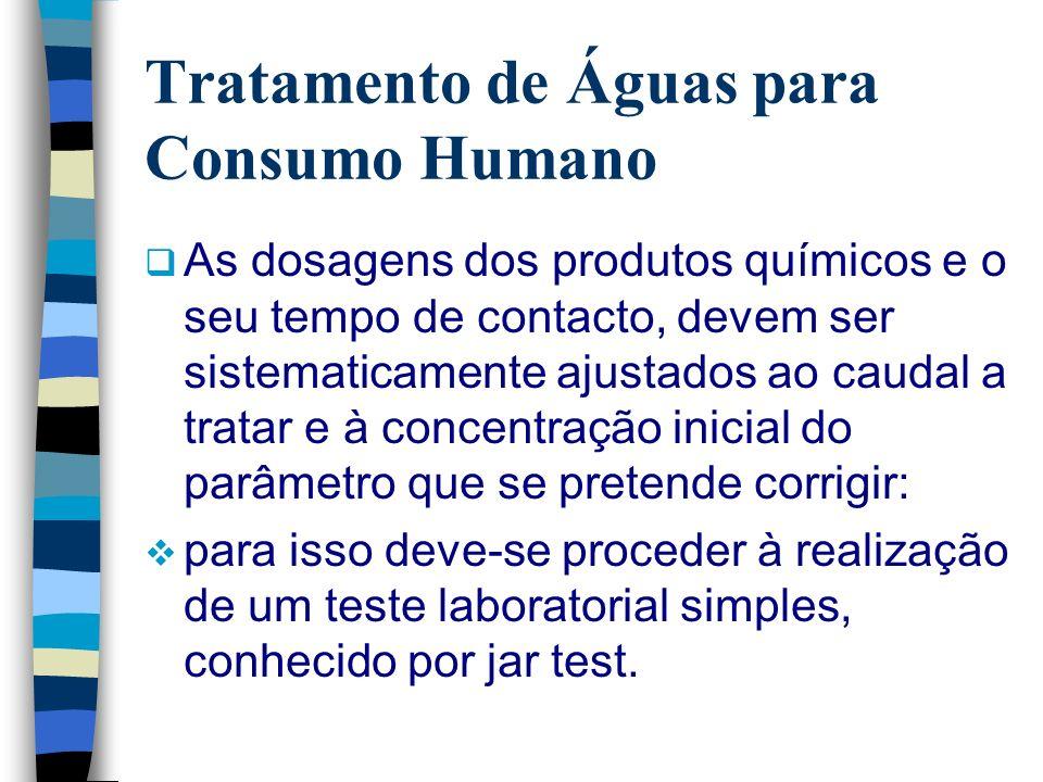 Tratamento de Águas para Consumo Humano As dosagens dos produtos químicos e o seu tempo de contacto, devem ser sistematicamente ajustados ao caudal a