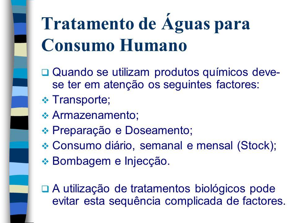 Tratamento de Águas para Consumo Humano Quando se utilizam produtos químicos deve- se ter em atenção os seguintes factores: Transporte; Armazenamento;