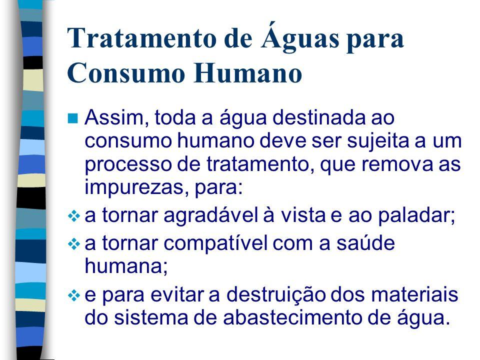 Tratamento de Águas para Consumo Humano O processo de tratamento da água para consumo humano consiste numa série de etapas (operações unitárias), que variam de acordo com o grau da qualidade da água bruta.