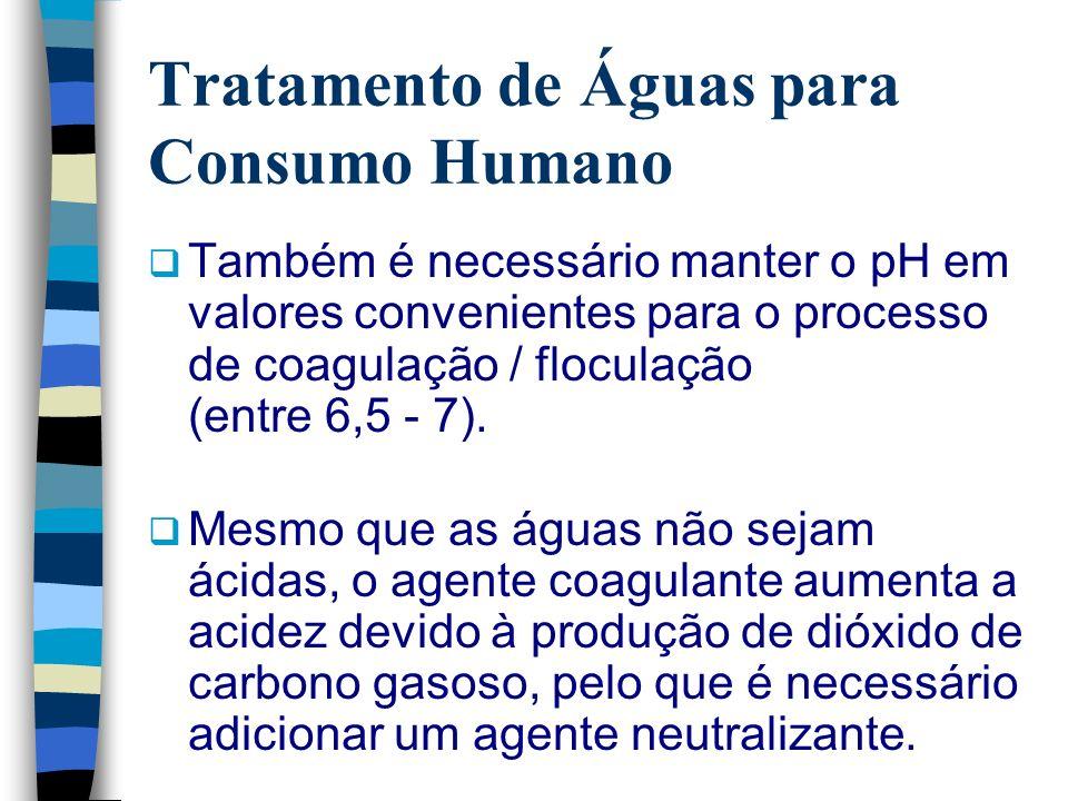 Tratamento de Águas para Consumo Humano Também é necessário manter o pH em valores convenientes para o processo de coagulação / floculação (entre 6,5