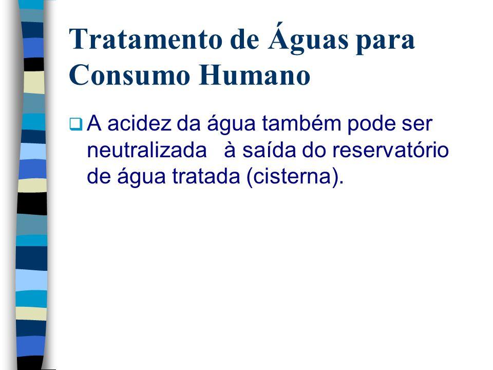 Tratamento de Águas para Consumo Humano A acidez da água também pode ser neutralizada à saída do reservatório de água tratada (cisterna).