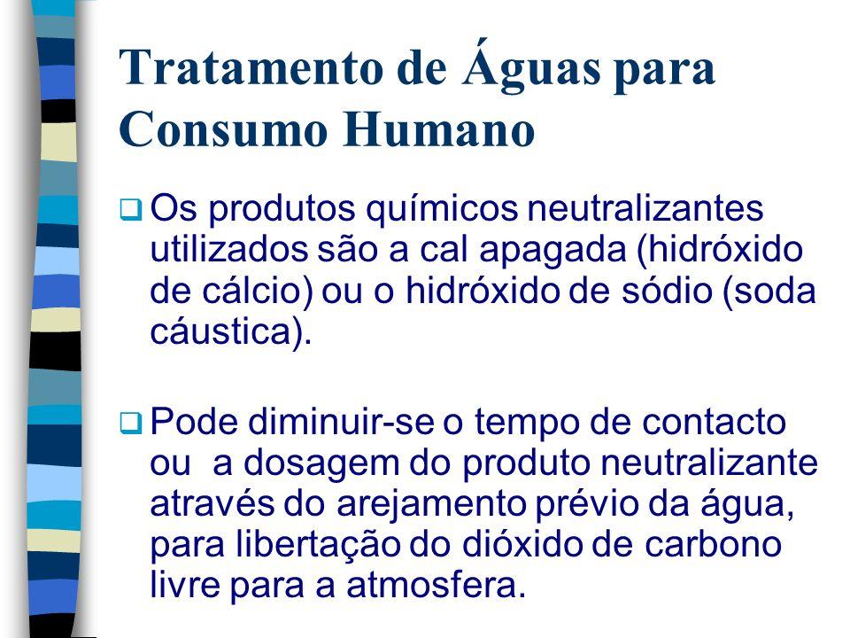 Tratamento de Águas para Consumo Humano Os produtos químicos neutralizantes utilizados são a cal apagada (hidróxido de cálcio) ou o hidróxido de sódio
