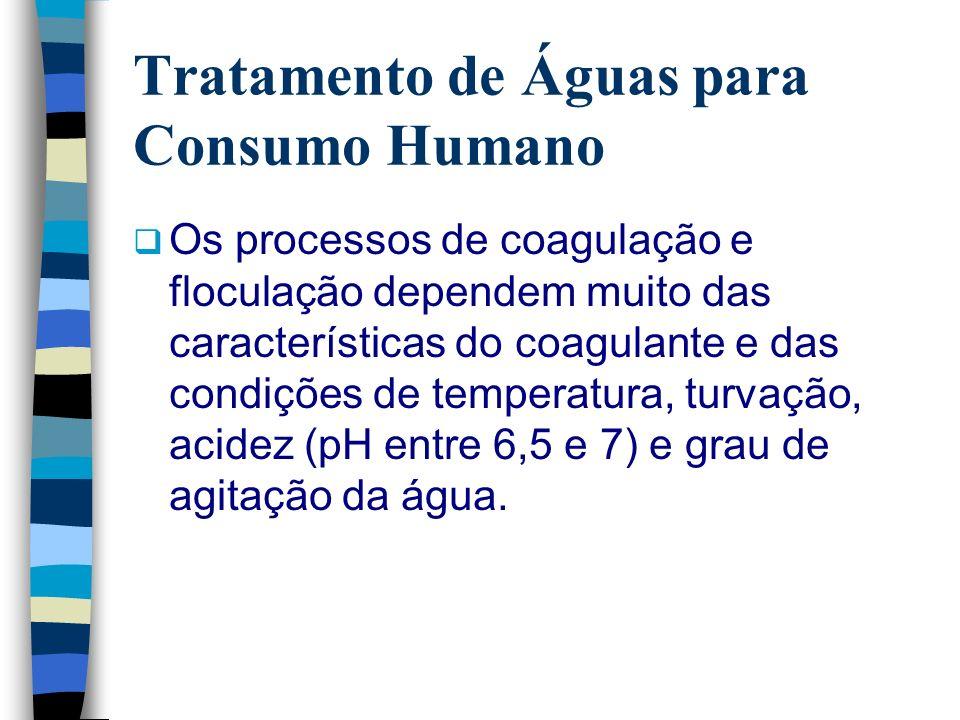 Tratamento de Águas para Consumo Humano Os processos de coagulação e floculação dependem muito das características do coagulante e das condições de te