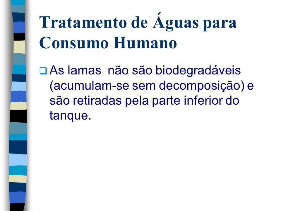 Tratamento de Águas para Consumo Humano As lamas não são biodegradáveis (acumulam-se sem decomposição) e são retiradas pela parte inferior do tanque.