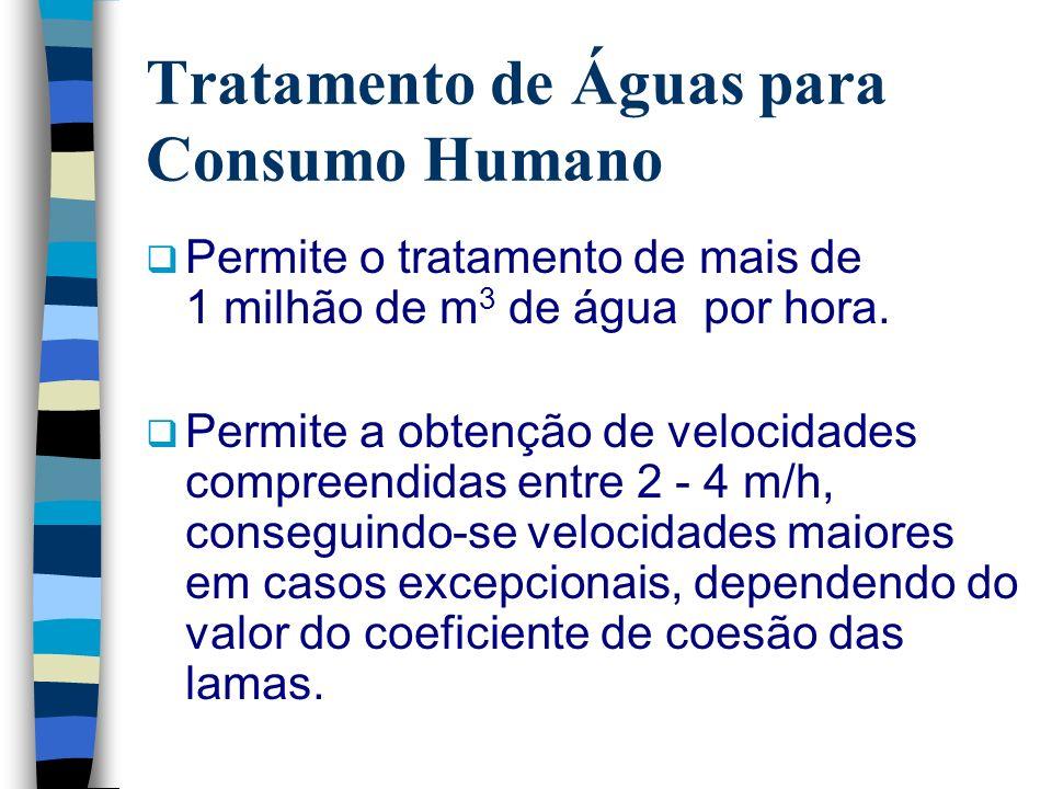 Tratamento de Águas para Consumo Humano Permite o tratamento de mais de 1 milhão de m 3 de água por hora. Permite a obtenção de velocidades compreendi
