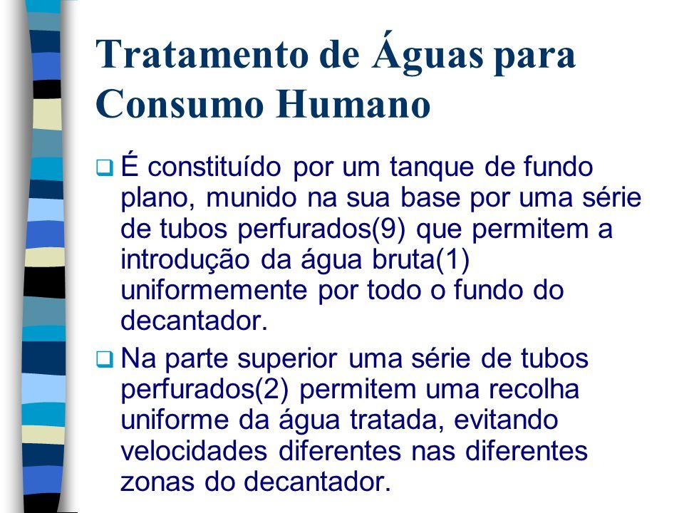 Tratamento de Águas para Consumo Humano É constituído por um tanque de fundo plano, munido na sua base por uma série de tubos perfurados(9) que permit