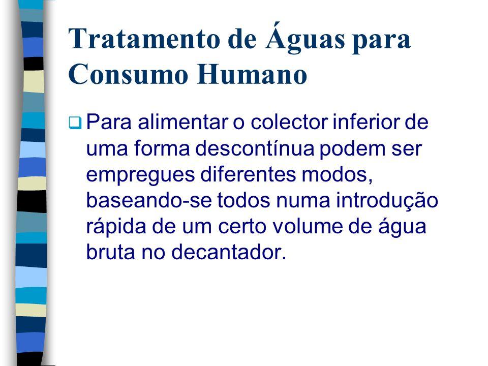 Tratamento de Águas para Consumo Humano Para alimentar o colector inferior de uma forma descontínua podem ser empregues diferentes modos, baseando-se