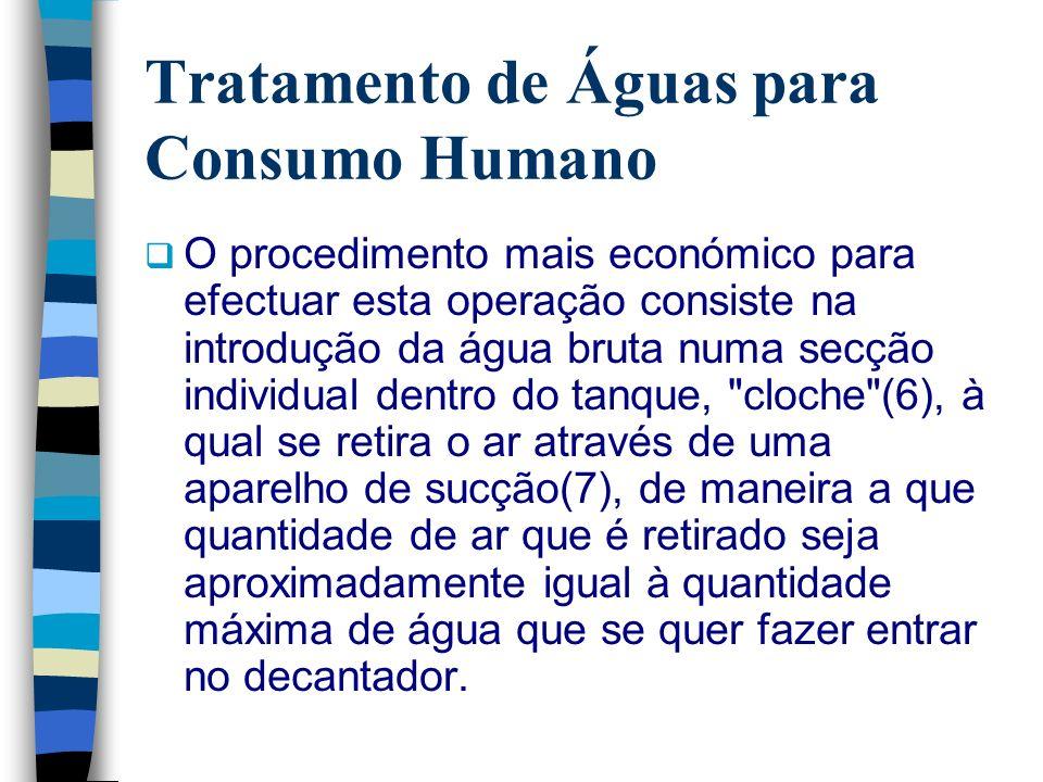 Tratamento de Águas para Consumo Humano O procedimento mais económico para efectuar esta operação consiste na introdução da água bruta numa secção ind