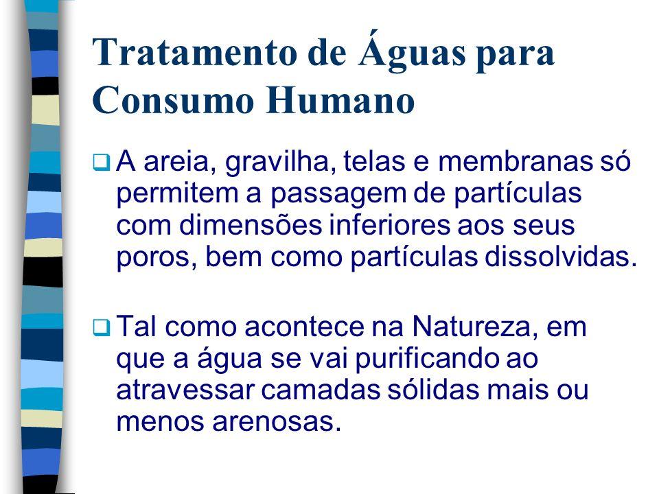 Tratamento de Águas para Consumo Humano A areia, gravilha, telas e membranas só permitem a passagem de partículas com dimensões inferiores aos seus po
