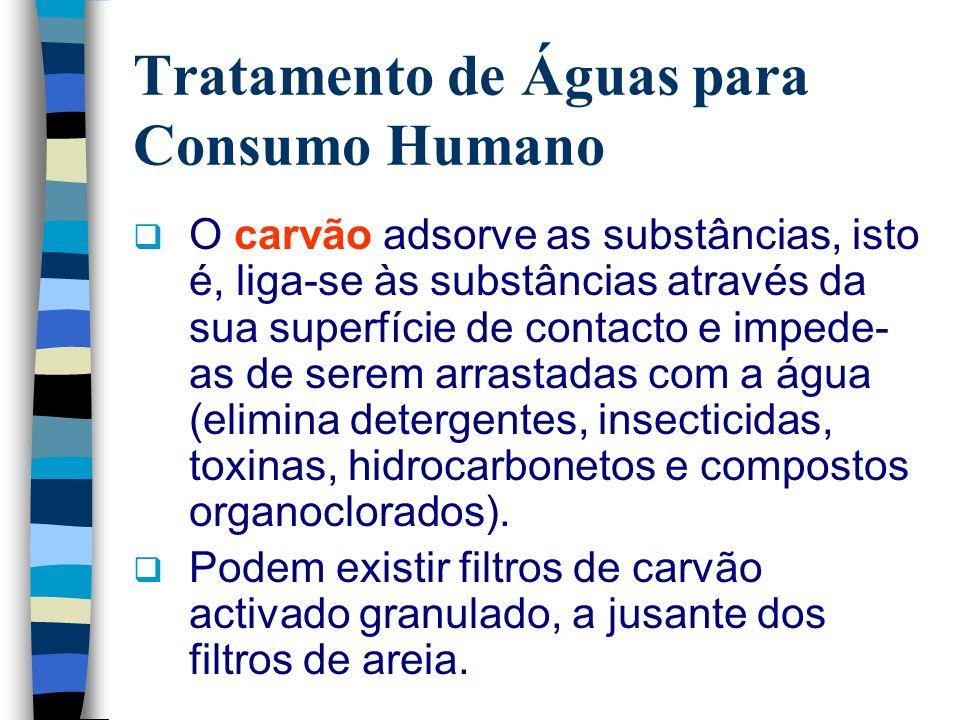 Tratamento de Águas para Consumo Humano O carvão adsorve as substâncias, isto é, liga-se às substâncias através da sua superfície de contacto e impede