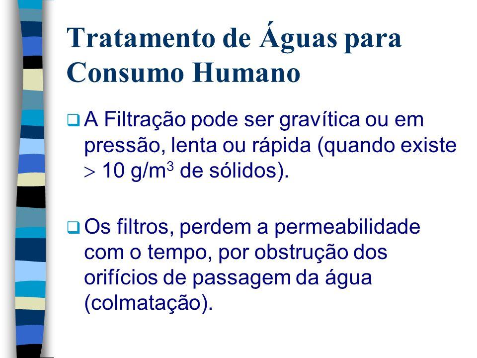 Tratamento de Águas para Consumo Humano A Filtração pode ser gravítica ou em pressão, lenta ou rápida (quando existe 10 g/m 3 de sólidos). Os filtros,