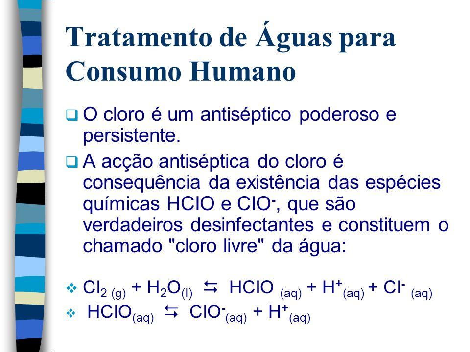 Tratamento de Águas para Consumo Humano O cloro é um antiséptico poderoso e persistente. A acção antiséptica do cloro é consequência da existência das