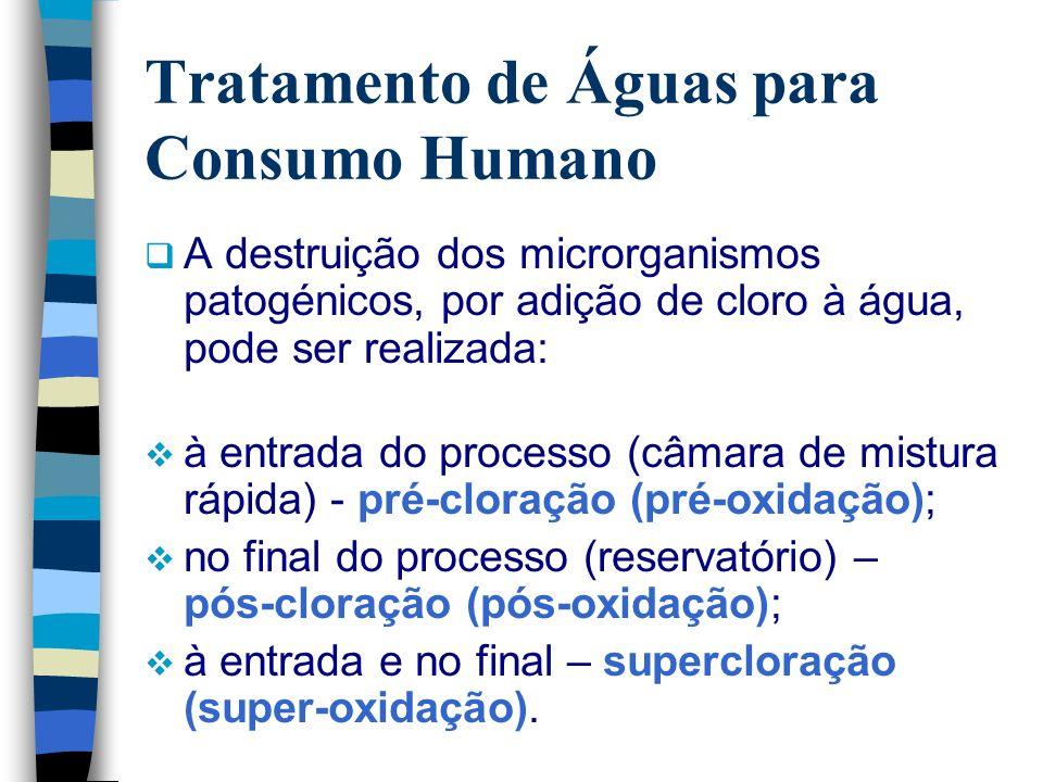 Tratamento de Águas para Consumo Humano A destruição dos microrganismos patogénicos, por adição de cloro à água, pode ser realizada: à entrada do proc