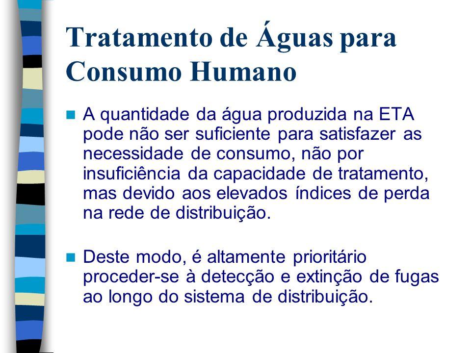 Tratamento de Águas para Consumo Humano Adopção de medidas preventivas da contaminação dos recursos hídricos; Protecção adequada das captações; Adequação do tratamento às características da água captada; Manutenção adequada do sistema de distribuição;