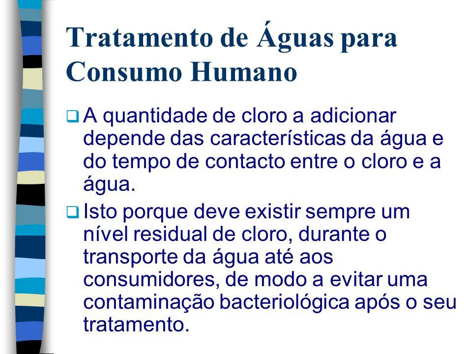 Tratamento de Águas para Consumo Humano A quantidade de cloro a adicionar depende das características da água e do tempo de contacto entre o cloro e a