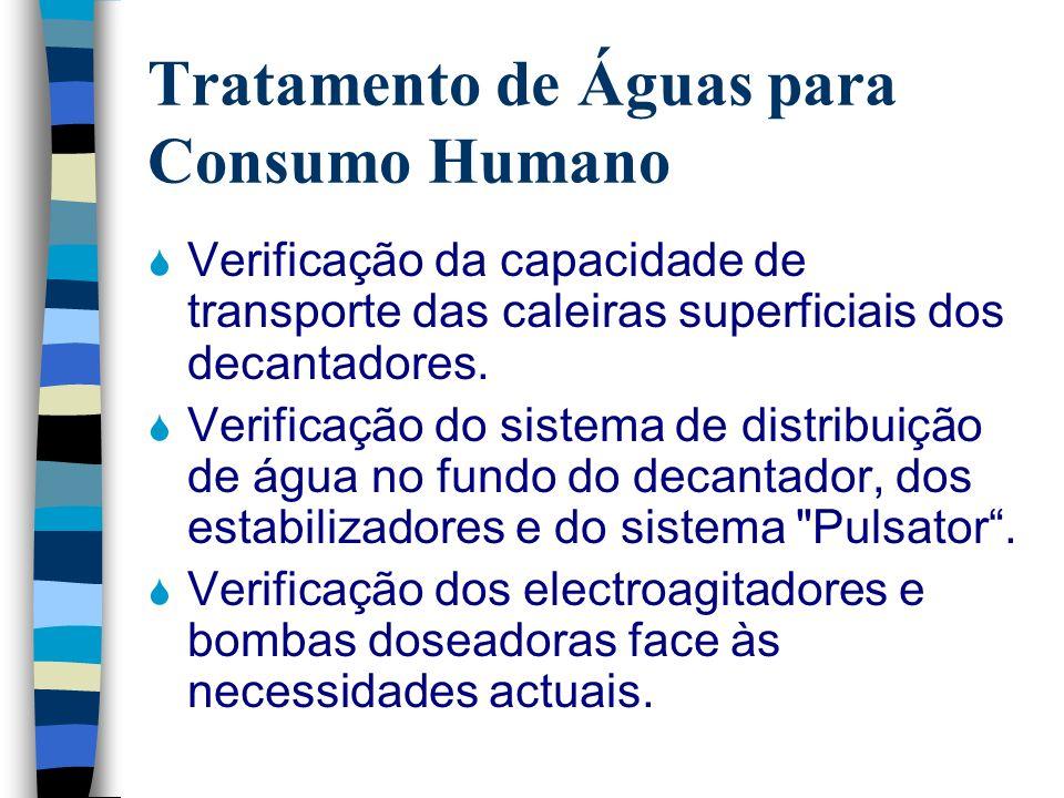 Tratamento de Águas para Consumo Humano Verificação da capacidade de transporte das caleiras superficiais dos decantadores. Verificação do sistema de