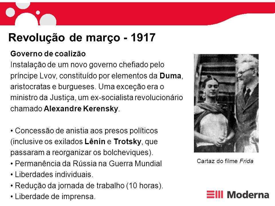 Publicação das Teses de Abril , uma espécie de programa do partido sintetizado em duas idéias: Todo o poder aos sovietes e Paz, terra e pão .