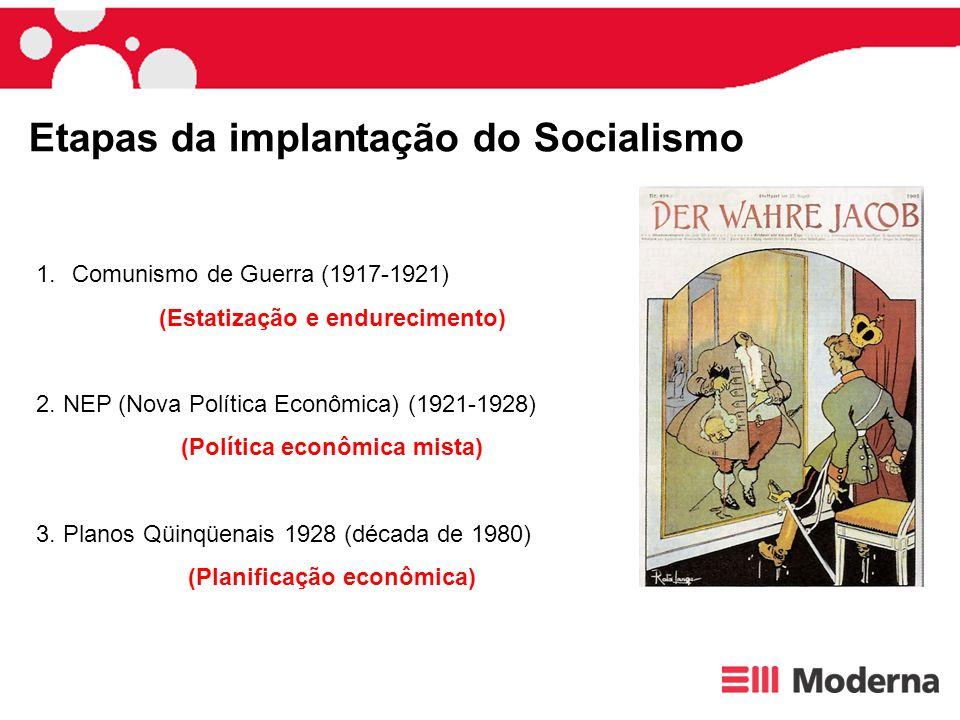 Etapas da implantação do Socialismo 1.Comunismo de Guerra (1917-1921) (Estatização e endurecimento) 2. NEP (Nova Política Econômica) (1921-1928) (Polí