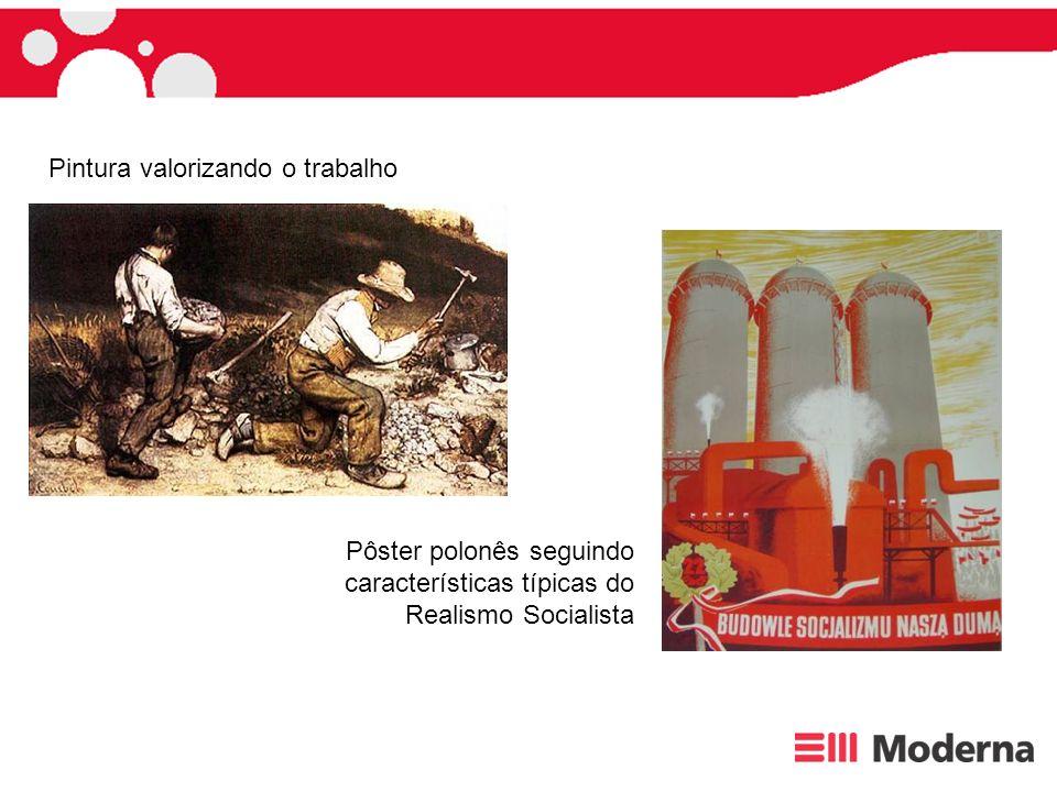 Pôster polonês seguindo características típicas do Realismo Socialista Pintura valorizando o trabalho