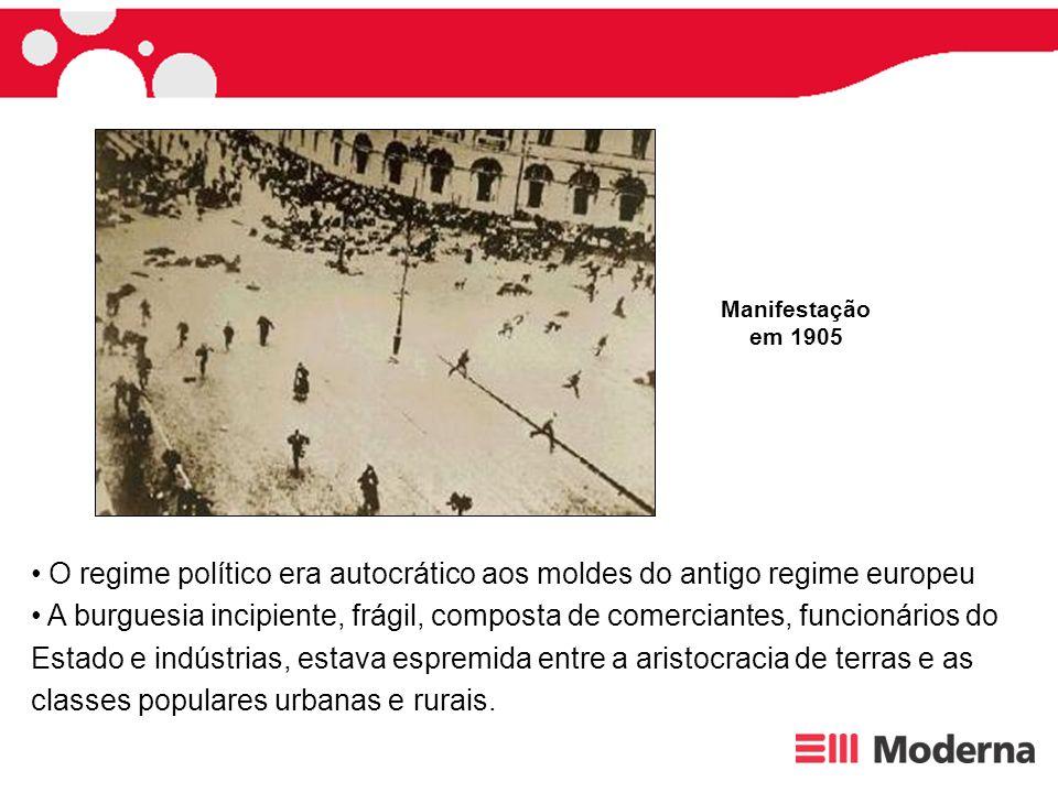 O regime político era autocrático aos moldes do antigo regime europeu A burguesia incipiente, frágil, composta de comerciantes, funcionários do Estado
