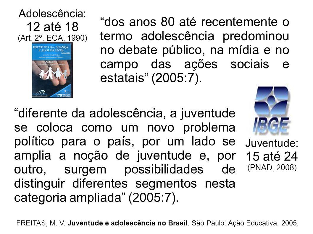 Adolescência: 12 até 18 (Art. 2º. ECA, 1990) diferente da adolescência, a juventude se coloca como um novo problema político para o país, por um lado