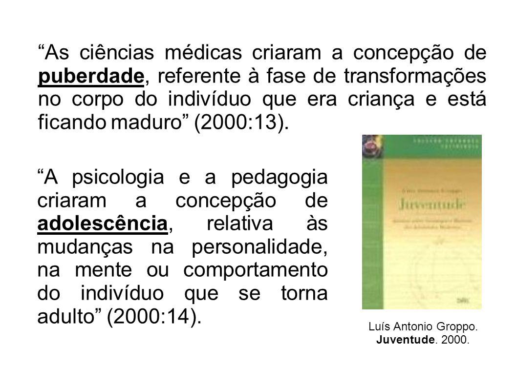 As ciências médicas criaram a concepção de puberdade, referente à fase de transformações no corpo do indivíduo que era criança e está ficando maduro (