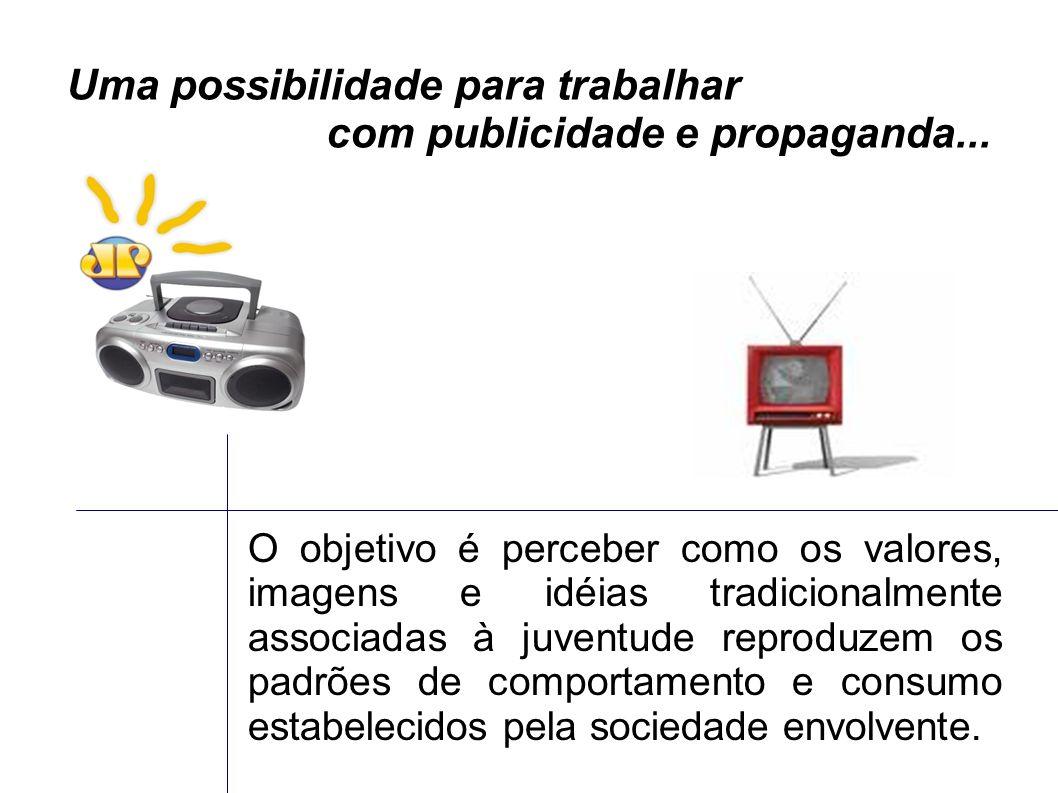 Uma possibilidade para trabalhar com publicidade e propaganda... O objetivo é perceber como os valores, imagens e idéias tradicionalmente associadas à