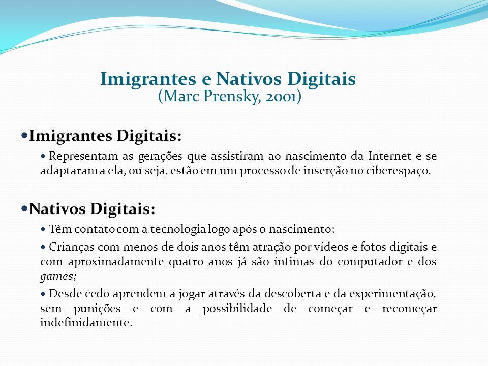 Imigrantes e Nativos Digitais (Marc Prensky, 2001) Imigrantes Digitais: Representam as gerações que assistiram ao nascimento da Internet e se adaptara