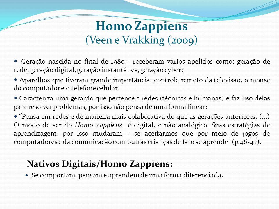 Homo Zappiens (Veen e Vrakking (2009) Geração nascida no final de 1980 - receberam vários apelidos como: geração de rede, geração digital, geração ins
