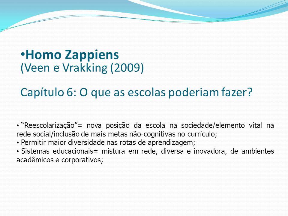 Homo Zappiens (Veen e Vrakking (2009) Capítulo 6: O que as escolas poderiam fazer? Reescolarização= nova posição da escola na sociedade/elemento vital