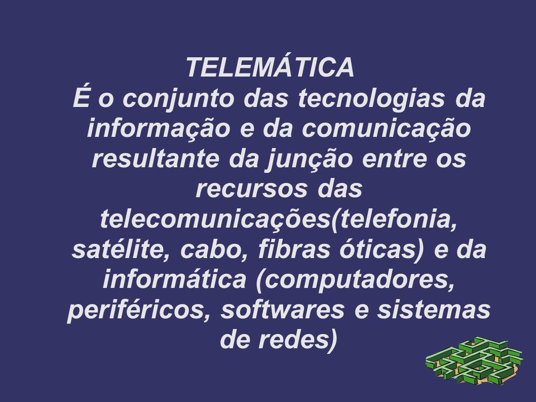 TELEMÁTICA É o conjunto das tecnologias da informação e da comunicação resultante da junção entre os recursos das telecomunicações(telefonia, satélite