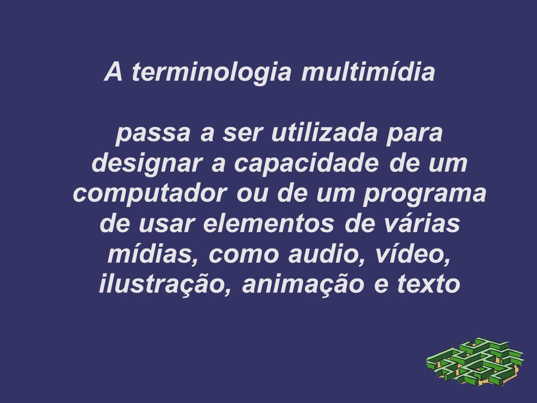 A terminologia multimídia passa a ser utilizada para designar a capacidade de um computador ou de um programa de usar elementos de várias mídias, como