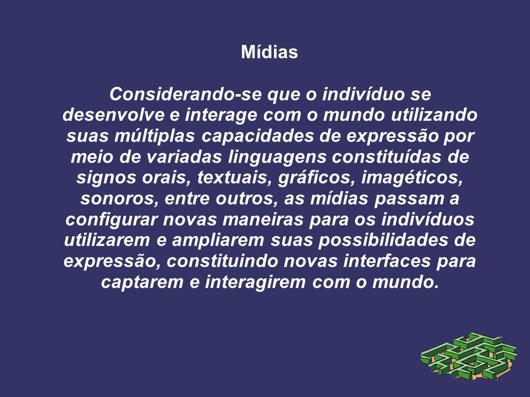 Mídias Considerando-se que o indivíduo se desenvolve e interage com o mundo utilizando suas múltiplas capacidades de expressão por meio de variadas li