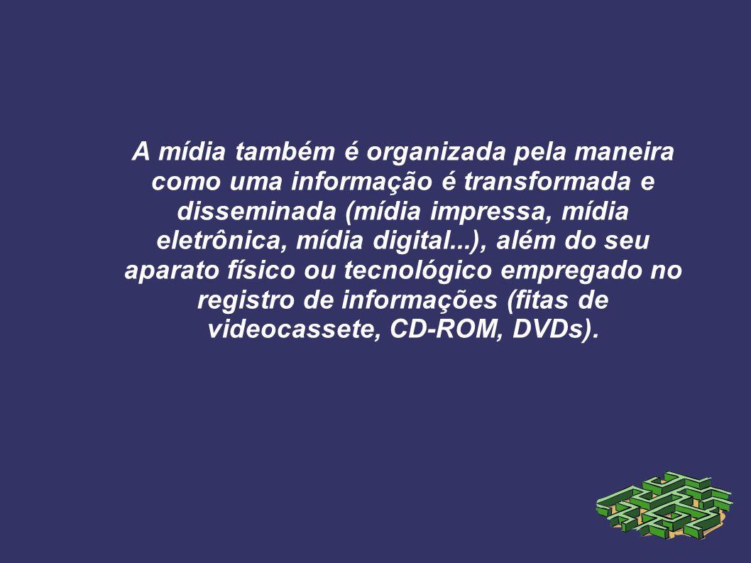 A mídia também é organizada pela maneira como uma informação é transformada e disseminada (mídia impressa, mídia eletrônica, mídia digital...), além d