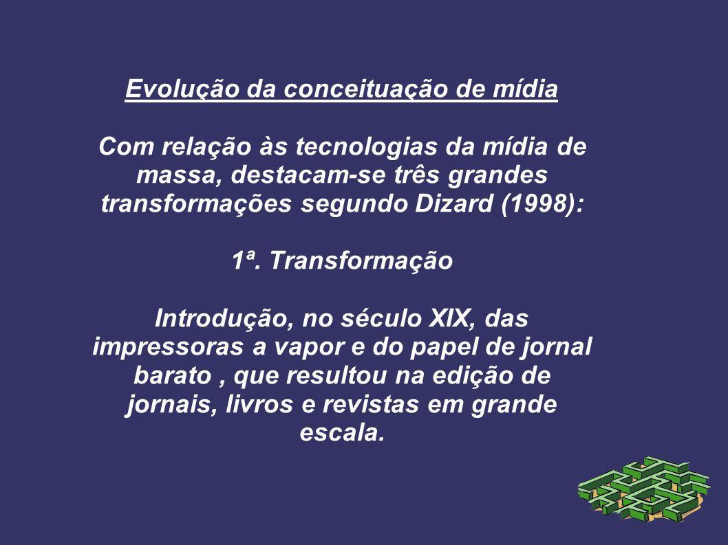 Evolução da conceituação de mídia Com relação às tecnologias da mídia de massa, destacam-se três grandes transformações segundo Dizard (1998): 1ª. Tra